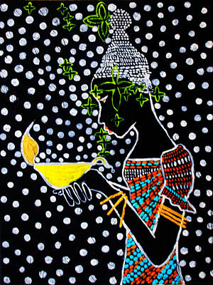 Painting - Shilluk South Sudan Wise Virgin by Gloria Ssali