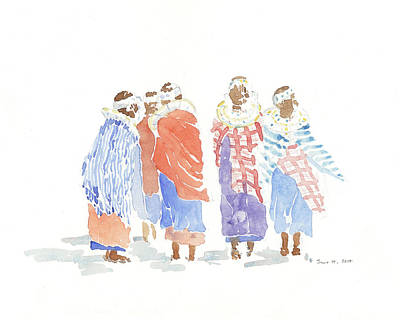 Masai Painting - Shimmer And Shukas by Alison Nicholls