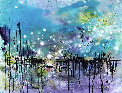 Docking Painting - Shimmer Lights On The Bay by Lynne Furrer
