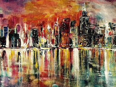 Painting - Shimmering City Night Lights by Belinda Low