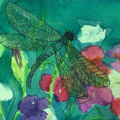Painting - Shimmering Dragonfly W Sweetpeas Square Crop by Ellen Levinson