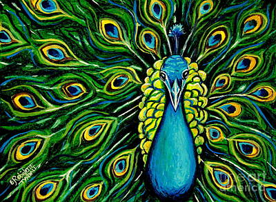 Shimmering Feathers Of A Peacock Art Print by Elizabeth Robinette Tyndall