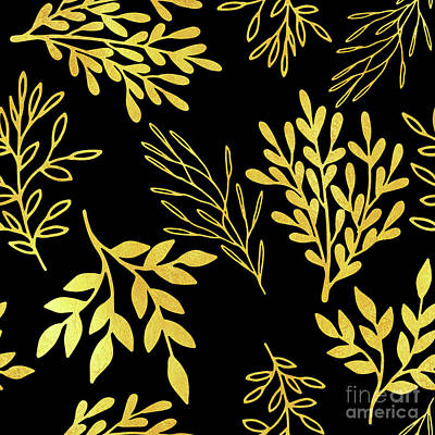 Nature Study Painting - Shimmering Golden Leaves Nature Pattern by Tina Lavoie