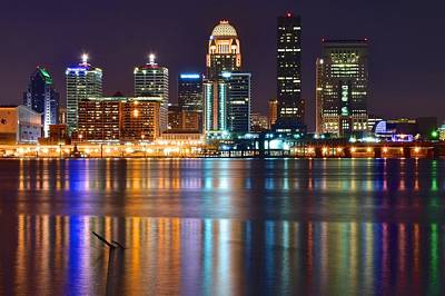Shimmering Lights Of Louisville Art Print by Frozen in Time Fine Art Photography