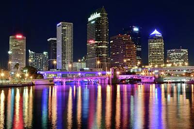 Photograph - Shimmering Shining Tampa Lights by Frozen in Time Fine Art Photography