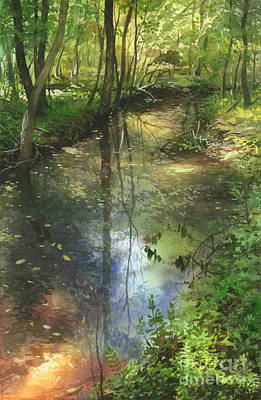 Art Print featuring the painting Shimmering Stream by Sergey Zhiboedov