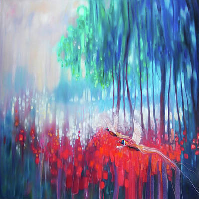 Mystical Landscape Painting - Shimmering Summer - A Large Abstract Sussex Landscape by Gill Bustamante