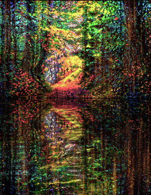 Mixed Media - Shimmery Reflections by Lilia D