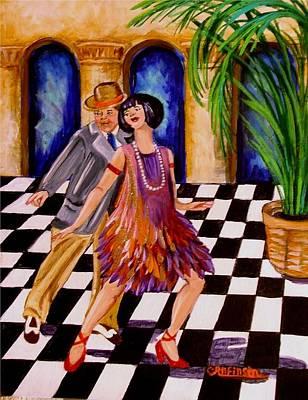 Checkerboard Floor Painting - Shimmy-shake by Carol Allen Anfinsen