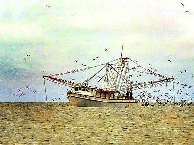 Photograph - Shimp Boat At Work 03 by Terry Shoemaker
