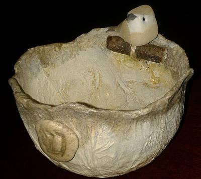 Mixed Media - Shin Bird Bowl by Karan Sargent