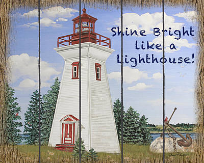 Painting - Shine Bright Lighthouse by Jean Plout