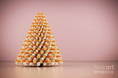 Noel Photograph - Shining Modern Christmas Tree On Rose Gold Wall Background. by Michal Bednarek