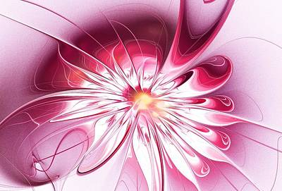 Blooming Digital Art - Shining Pink Flower by Anastasiya Malakhova