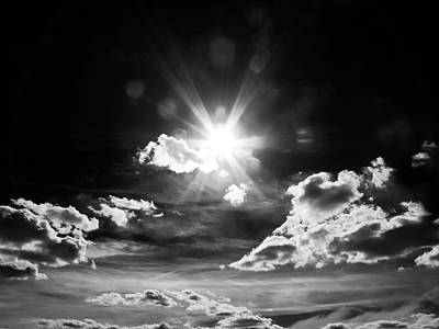 Sun Photograph - Shining Sun, Black And White by Nat Air Craft