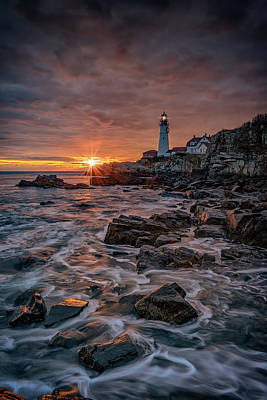 Photograph - Shining Through At Portland Head Light by Rick Berk