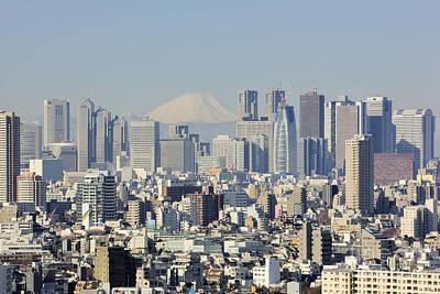 Shinjuku Photograph - Shinjuku Skyline With Mt Fuji by Jeremy Woodhouse
