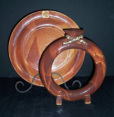 Wheel Thrown Ceramic Art - Shino Glazed Ring Vase And Plate by Carolyn Coffey Wallace