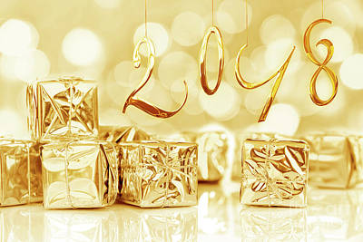 Happy New Year Wall Art - Photograph - Shiny 2018 by Delphimages Photo Creations