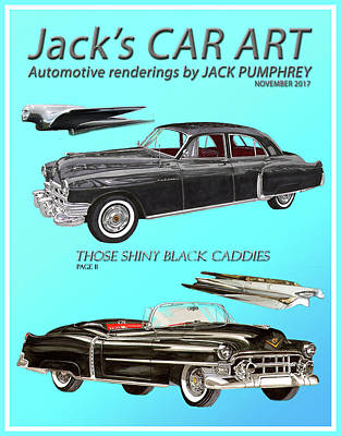 Painting - Shiny Black Cadillac Art by Jack Pumphrey