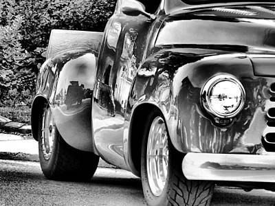 Photograph - Shiny Chevy In Black And White by Kathy K McClellan
