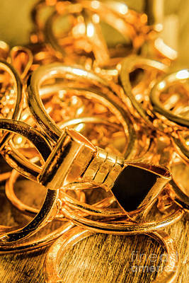 Anniversary Ring Photograph - Shiny Gold Rings by Jorgo Photography - Wall Art Gallery