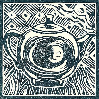 Linoprint Drawing - Shiny Teapot by Jennifer Harper