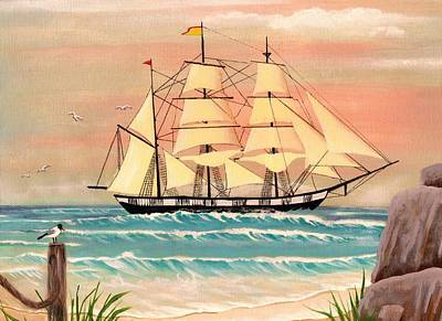 Ship At Sea Art Print by Eileen Blair