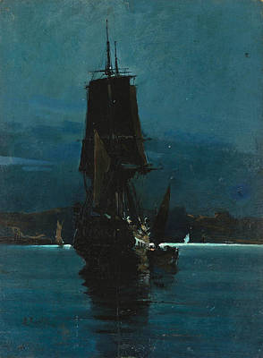 Painting - Ship By Night by Vasilios Chatzis