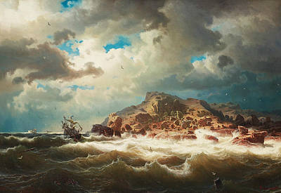 Sea Birds Painting - Ship By The Coast by Marcus Larson