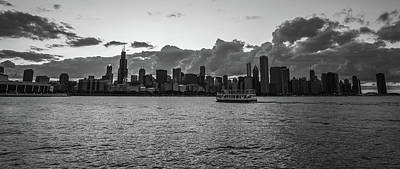 Skyline Photograph - Ship Coming Into Chicago Black And White by Med Studio