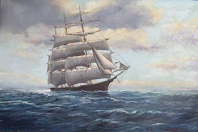 Painting - Ship Coming Out Of Morning Fog by Perrys Fine Art