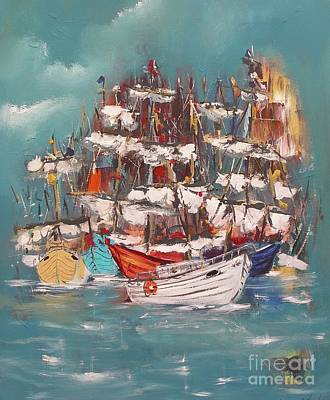 Painting - Ship Harbor by Miroslaw  Chelchowski