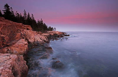 Ship Harbor Sunset In Maine Acadia National Park Art Print by Juergen Roth