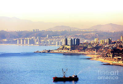 Photograph - Ship In The Harbor At Valparaiso Chile by John Rizzuto