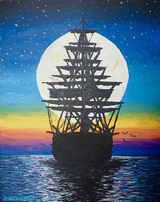 Gallion Painting - Ship In The Moon by Robbie Nuwanda