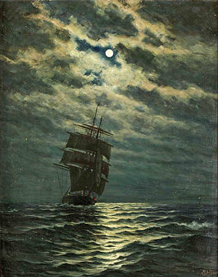 Painting - Ship In The Moonlight by Martin Aagaard