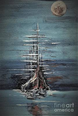 Painting - Ship In The Sea by Crystal Schaan