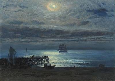 Ship On A Moonlit Sea Art Print by MotionAge Designs