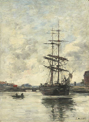 Pirate Ship Painting - Ship On The Touques by Eugene Boudin