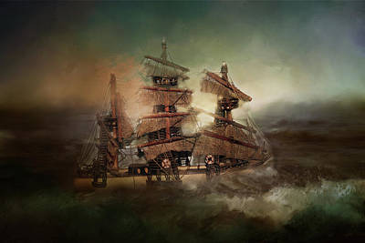 Digital Art - Ship On Troubled Sea by TnBackroadsPhotos