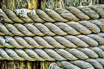 Photograph - Ship Rope Anchored by Roxy Hurtubise