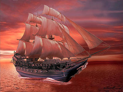 Digital Art - Ship Sails At Sunset by Glenn Holbrook
