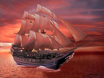 Digital Art - Ship Sails At Sunset by Glenn Holbrook
