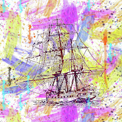 Digital Art - Ship Sails War by PixBreak Art