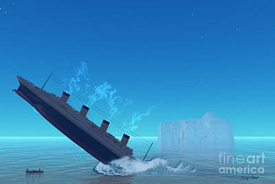 Ship Sinking Print by Corey Ford