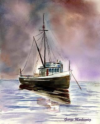 Ship Stormy Weather Art Print by George Markiewicz