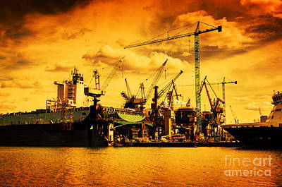 Container Photograph - Ship Under Construction by Michal Bednarek