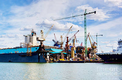 Harbour Photograph - Ship Under Construction On Shipyard by Michal Bednarek