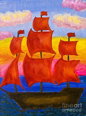 Painting - Ship With Red Sails by Irina Afonskaya